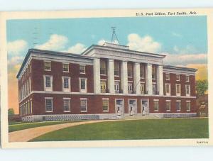 Linen POST OFFICE SCENE Fort Smith Arkansas AR d8916