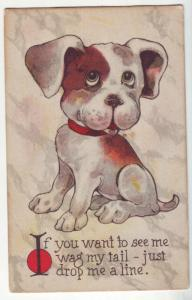 P1114 old stamped comic dog do you want see me my wag tail-just drop me a line