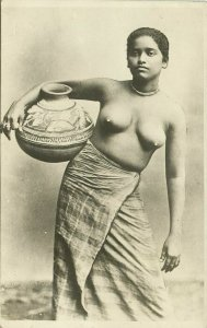 ceylon, Native Nude Rodiya Woman with Water Chatty Pottery (1920s) RPPC Postcard