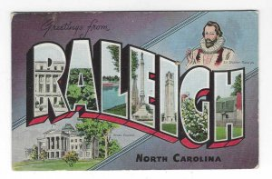 1940's Greetings from Raleigh, North Carolina Large Letter Linen Postcard