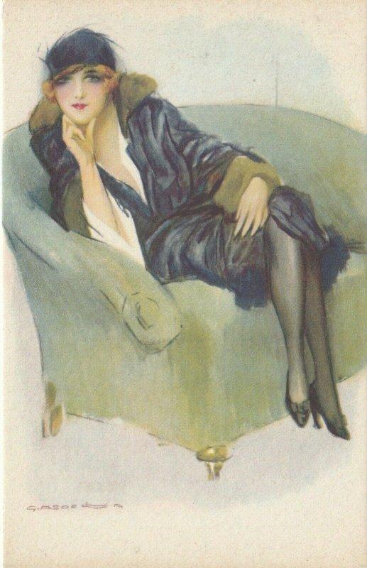 Woman portrait , 1900-10s ; #43A ; Artist Signed , Art Deco