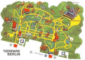 Vintage 1978 Berlin Zoo Map Postcard, Tierpark Berlin, Germany 3D