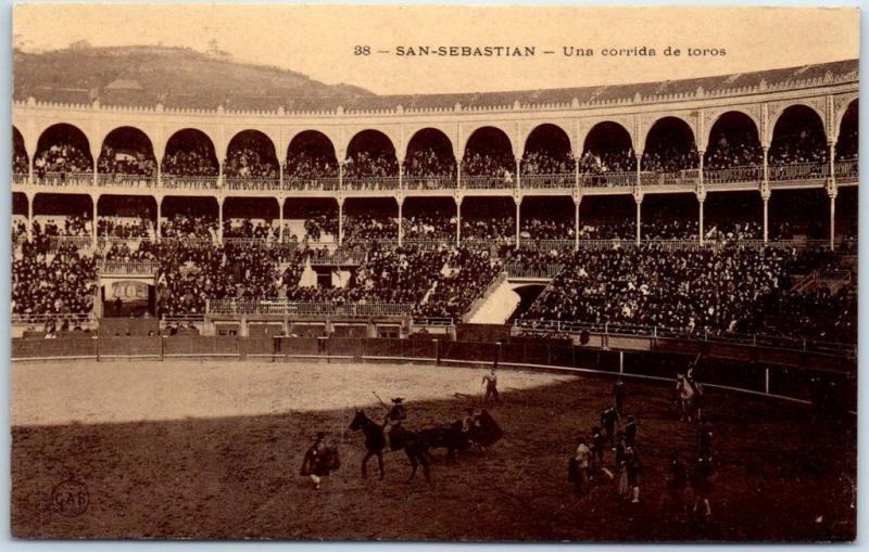 SAN SEBASTIAN Spain Postcard Corrida de Toros Bull Fight Arena View 1910s Unused