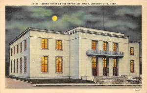 Johnson City Tennessee~US Post Office @ Night~Lights in Building~1940s Postcard