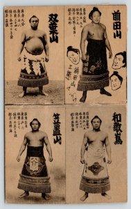 Japan~4 Japanese Sumo Wrestlers~1940-50s B&W Postcard