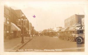 Manning Iowa~Main Street North~Lakes Produce & Feed~5c Hamburgers~1928 RPPC