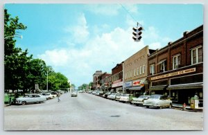 Harrison AR~Vine Street~Walters Dry Goods Store~Pepsi Cap Trash Can~1950s Cars