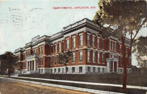Appleton Wisconsin~High School Building~Note on Back~1909 Postcard