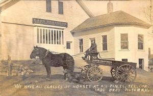 Tilton NH Lard Brothers Sale & Exchange Stable Horse & Buckboard RPPC Postcard