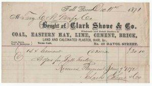 1871 Billhead, CLARK SHOVE & CO.,  COAL, Hay, Lime, Cement, etc., Fall River, MA