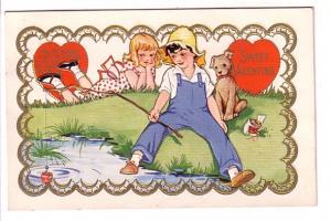Boy Fishing Girl Watching, Dog, Sweet Valentine,