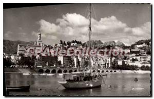 Old Postcard Menton Harbor and views of the Old Town