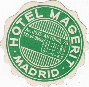 Spain Madrid Hotel Magerit Vintage Luggage Label sk4493