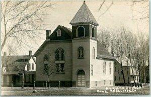 1910s RADCLIFFE, Iowa RPPC Postcard GERMAN CHURCH Street View / HOWE Photo