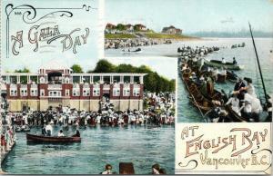 Gala Day at English Bay Vancouver BC British Columbia Boats c1908 Postcard E48