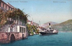 Lugano Hotel Central Ship Cadenabbia At Advertising Waterfront Italy Postcard