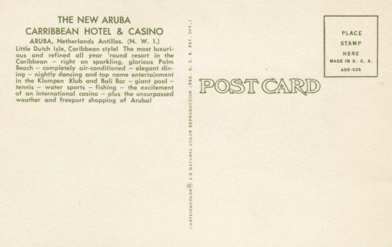 ARUBA , N.W.I. , 1940-60s ; New Aruba Carribbean Hotel & Casino