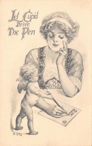 Valentine Fantasy~Lovely Lady Writes Letter~Let Cupid Drive the Pen~G&B Artist