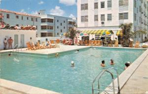 MIAMI BEACH FLORIDA~ATLANTIC TOWERS~HOTEL & CABANA CLUB POOL POSTCARD 1952 PSMK