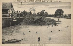 suriname, PARAMARIBO, Swimming Club Saron, Child's Home (1920s) Mission Postcard