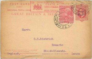 Entier Postal Stationery 1p + Austrian stamp Melnik 1914 for Rosario