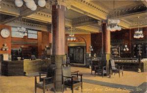 La Crosse WI~Stoddard Hotel Lobby~12:20 Big Clock~Spittoons~Cigar Boxes RPPC '10