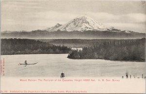Mount Rainier WA Canoe Indigenous Person Rowing c1906 WP Romans Postcard G29