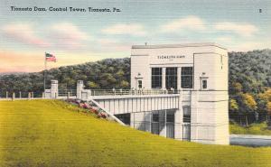 Tionesta Dam, Control Tower, Tionesta, PA, Vintage Linen Postcard, Unused