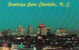 North Carolina Greetings From Charlotte Skyline At Night