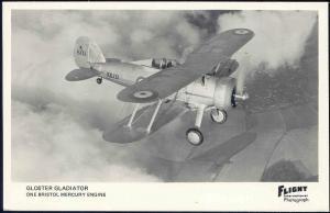 British Royal Air Force Biplane Fighter Gloster Gladiator, Flight RPPC