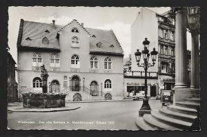 Old Town Hall & Fountain Wiesbaden Germany RPPC used c1955
