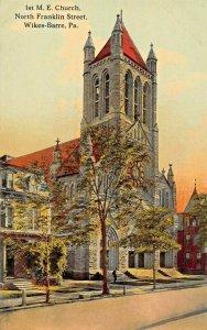 WILKES BARRE  PA~BEAUTIFUL STONE FIRST METHODIST EPISCOPAL M E CHURCH POSTCARD