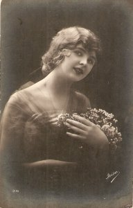 Pretty lady with flowers Old vintage French postcard