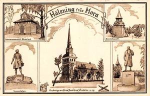 Sweden Old Vintage Antique Post Card Halsning fran Mora Writing on back