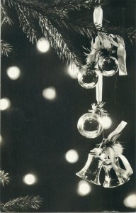 Merry Christmas greet Postcard bells and globes decoration ornaments