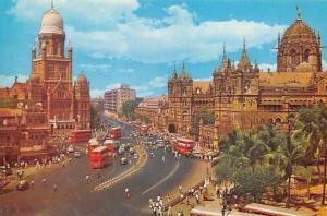 India Victoria Terminus Bombay Street Auto Red Busses Panorama
