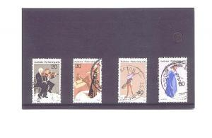 4 Different Used Australia Performomng Arts Stamps