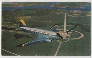 TTA Trans Texas Airways DC-3 Starliner San Jacinto Monument Aircraft Postcard