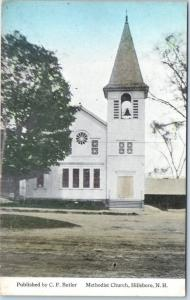 Hillsborough, New Hampshire Postcard Methodist Church, Hillsboro c1910s UNUSED
