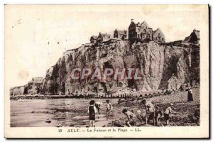 Old Postcard Ault La Falaise and Kids Beach