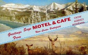 Montana Greetings From Sage Moel & Cafe Near Custer Battlefield Crow Agency