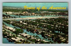Ft. Lauderdale FL-Florida, Venice of Americas, Aerial View Chrome c1969 Postcard