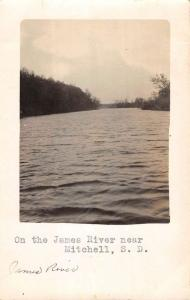 Mitchell South Dakota James River Waterfront Real Photo Antique Postcard K100634