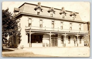 Hotel House Wisconsin~Chairs on Porch~Four Fancy Dormers~Balcony RPPC c1910 PC