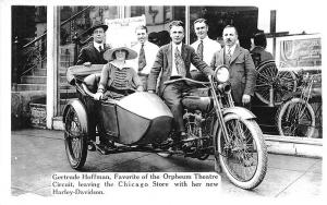 Chicago IL Star at Orpheum Theatre Harley Davidson Motorcycle RPPC Postcard