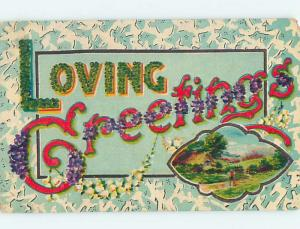 Pre-Linen LOVING GREETINGS - WRITTEN IN BIG LETTERS WITH FLOWERS HL5768