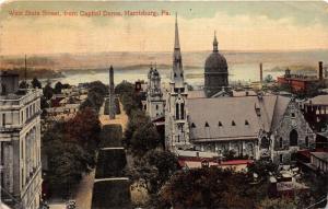 Harrisburg Pennsylvania~West State Street~Beautiful Stone Churches~Monument~1922