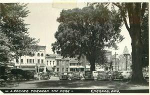Autos Chardon Ohio Looking Through Pink RPPC Photo Postcard 3366