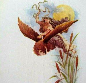 Halloween Postcard Medusa Snakes Flying Owl Gibson Unused Original Remembrance