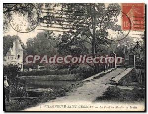 Old Postcard Villeneuve Saint Georges Le Pont du Moulin de Senlis